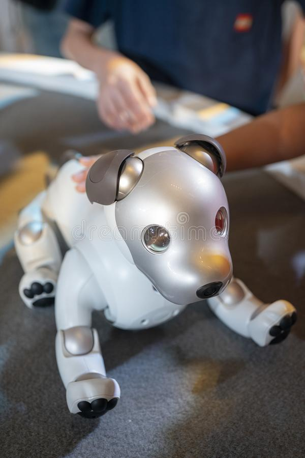AIBO-Roboter auf Anzeige bei Sony Expo 2019 stockbilder