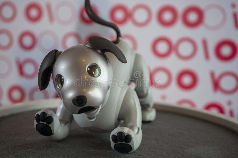 AIBO-Roboter auf Anzeige bei Sony Expo 2019 lizenzfreies stockbild