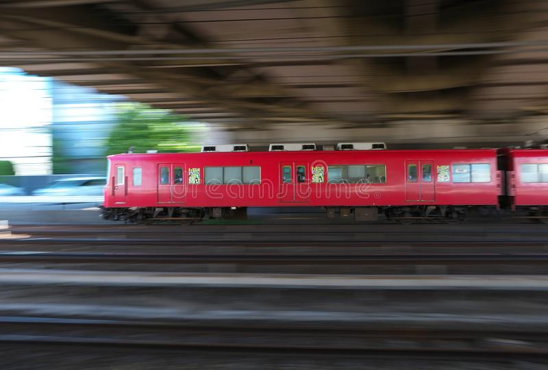 Panning of a private railway train. Aichi,Japan-May 11, 2018: Panning of a private railway train recorded near JR Atsuta station royalty free stock images