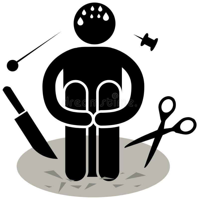 Aichmophobia fobia Strach ostrzy lub śpiczaści przedmioty Logo, ikona, sylwetka, majcher, znak Afraided mężczyzna royalty ilustracja