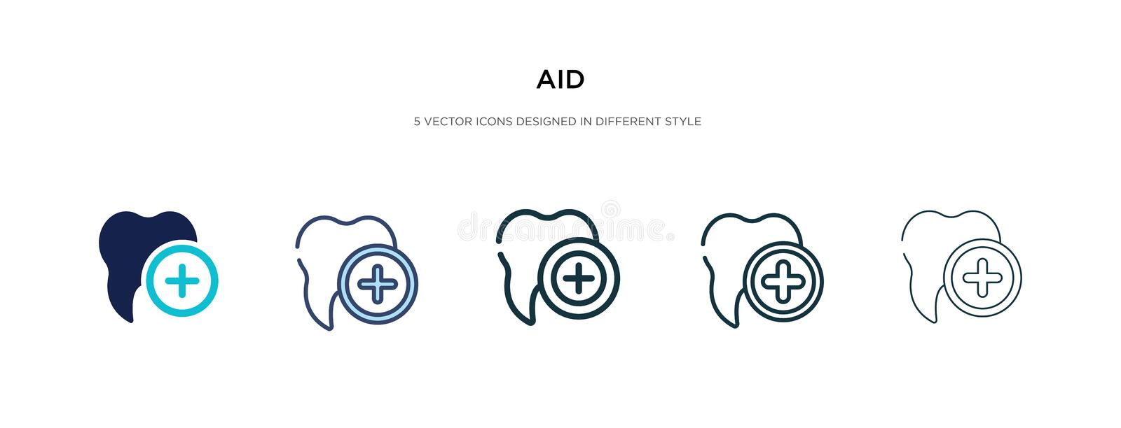 Aid icon in different style vector illustration. two colored and black aid vector icons designed in filled, outline, line and. Stroke style can be used for web vector illustration