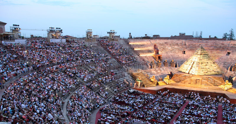 Aida. Opera Aida (Giuseppe Verdi) in the arena of Verona, Italy