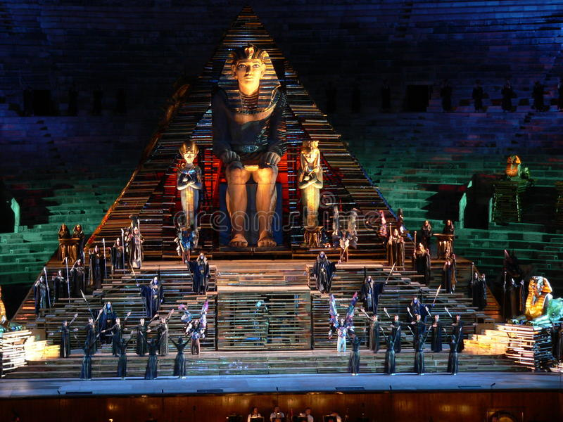 Aida at arena, Verona (Italia ). Scene of Aida at the Arena di Verona (Italia stock photo