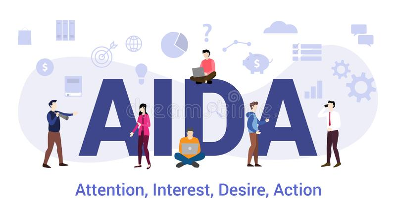 Aida attention interest desire action concept with big word or text and team people with modern flat style - vector. Illustration royalty free illustration