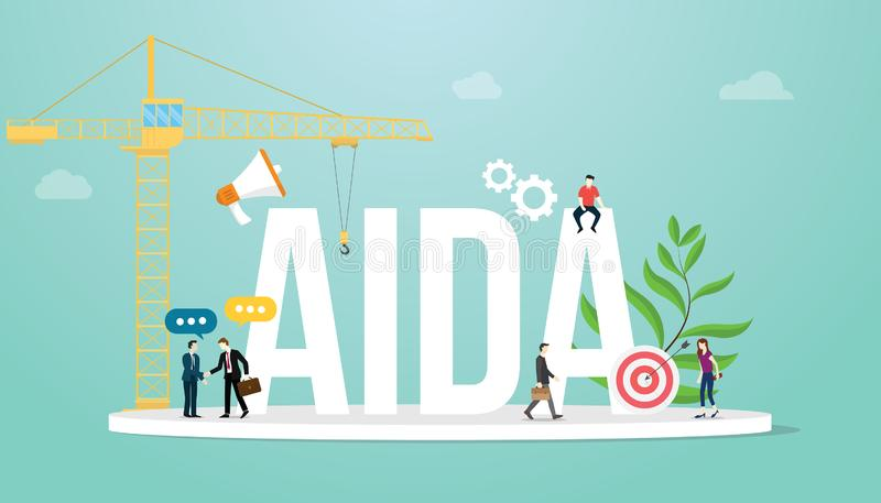 Aida attention interest desire action sales funnel marketing business concept with team people and big word - vector stock illustration