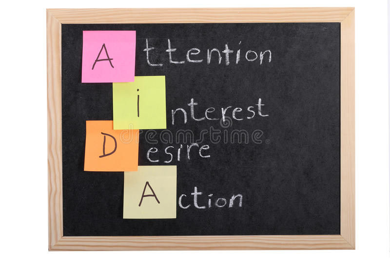 Aida concept on blackboard. Aida concept on black blackboard royalty free stock photos