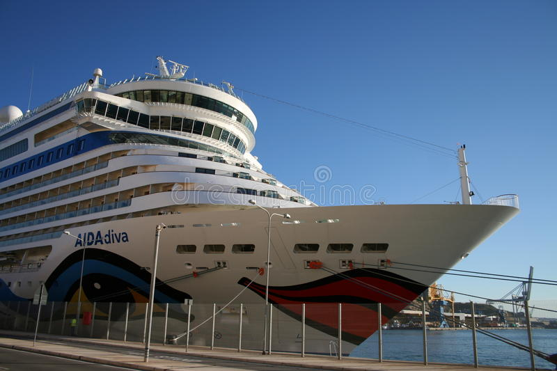 AIDA Cruise Ship. AIDA Diva Cruiseliner in the port of Palermo, Italy. Photo taken from the back, with cabin and balconies stock photos