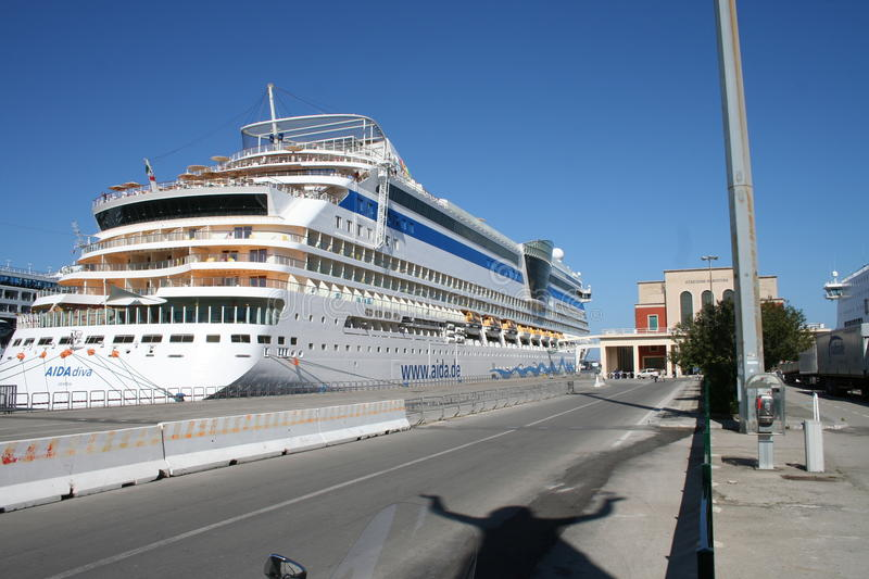 AIDA Cruise Ship. AIDA Diva Cruiseliner in the port of Palermo, Italy. Photo taken from the back, with cabin and balconies royalty free stock photo