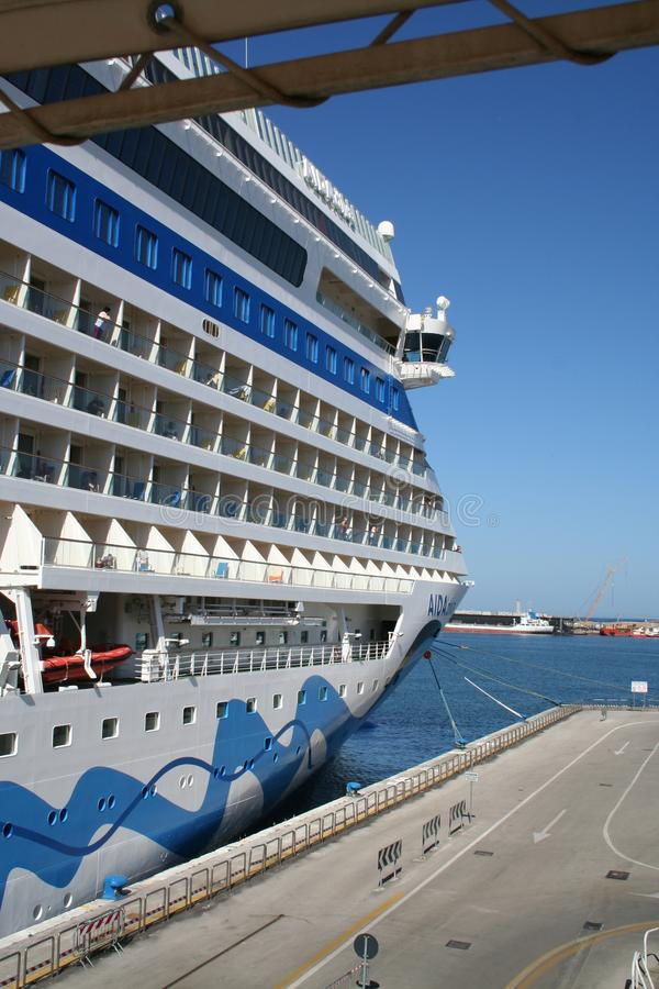 AIDA Cruise Ship. AIDA Diva Cruiseliner in the port of Palermo, Italy. Photo taken from the side, with cabin and balconies stock photos