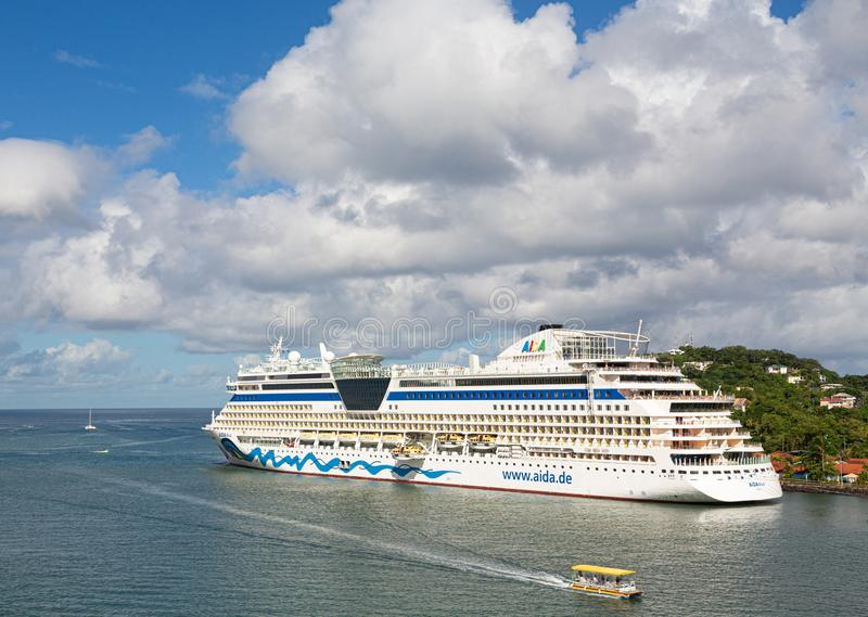 Aida Diva in Castreis. CASTRIES, ST LUCIA - November 21, 2016: AIDA Cruises is an American British-owned German cruise line based in Rostock, Germany. The royalty free stock images