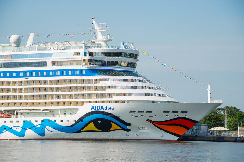 Aida Diva cruise ship. Image of the large and beautiful, luxury cruise ship Aida Diva. Its under the flag of Italy, Costa Crociere cruises. Image is taken in royalty free stock image