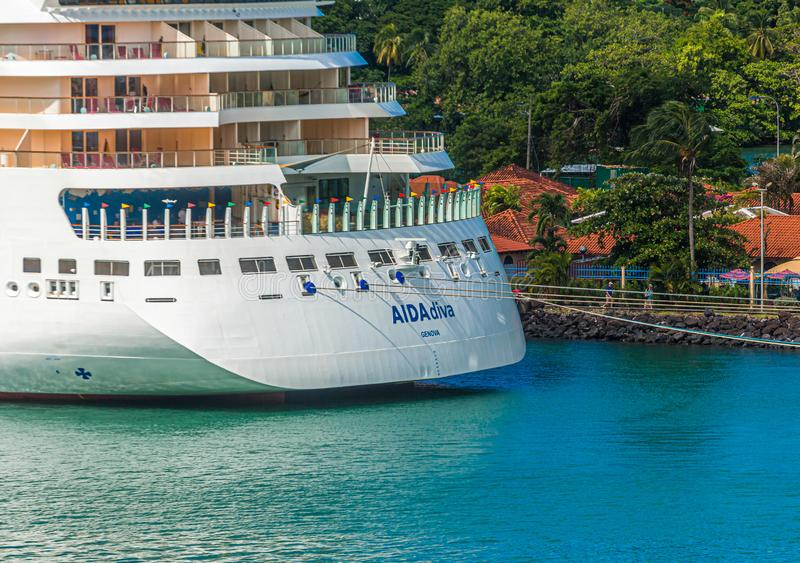 Aida Diva Moored in Castries. CASTRIES, ST LUCIA - November 21, 2016: AIDA Cruises is an American British-owned German cruise line based in Rostock, Germany. The stock image