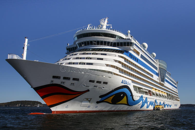 AIDA Dive Cruise Ship in Bar Harbor, USA, 2015 stock photography
