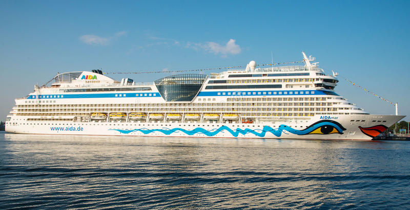 Aida Mar cruise ship. Image of the large and beautiful, luxury cruise ship Aida Mar. Its under the flag of Italy, Costa Crociere cruises. Image is taken in stock photography