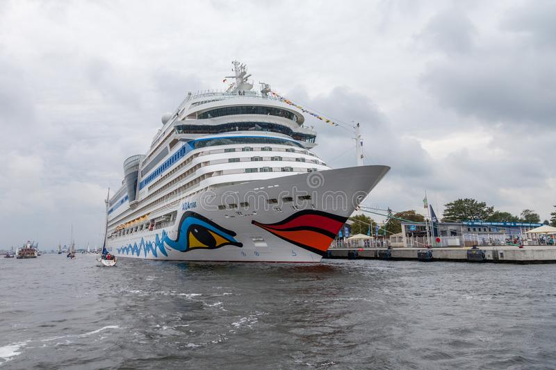 AIDA mar lies on harbour at public event hanse sail. Warnemuende / Germany - August 12, 2017: AIDA mar lies on harbour at public event hanse sail in warnemuende stock photography