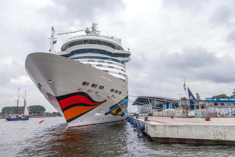 AIDA mar lies on harbour at public event hanse sail. Warnemuende / Germany - August 12, 2017: AIDA mar lies on harbour at public event hanse sail in warnemuende stock photos