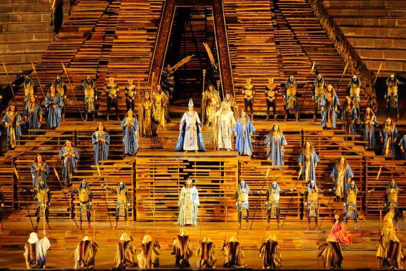 Aida na arena de Verona foto de stock
