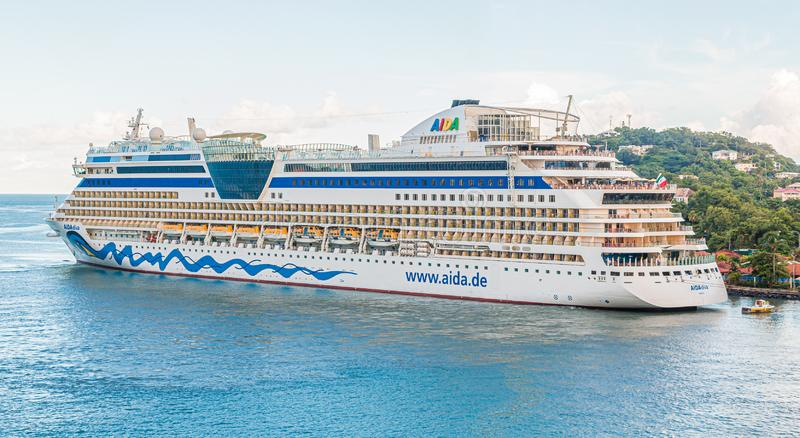 Aida in St Lucia. CASTRIES, ST LUCIA - November 21, 2016: AIDA Cruises is an American British-owned German cruise line based in Rostock, Germany. The company stock photo