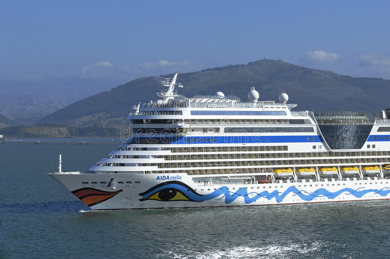 Aida Stella. In the bay of Santander during a stopover in the city royalty free stock images