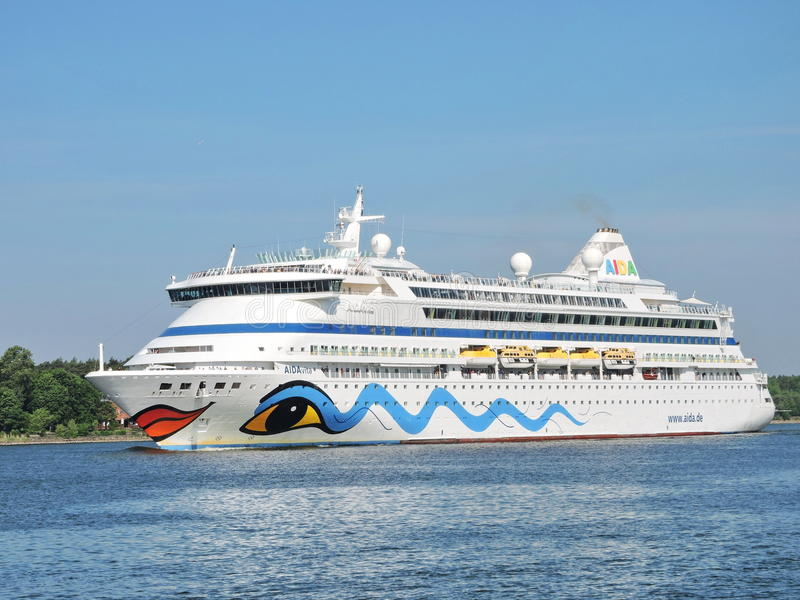 AIDA vita Cruise ship. In Klaipeda harbour, Lithuania royalty free stock photography