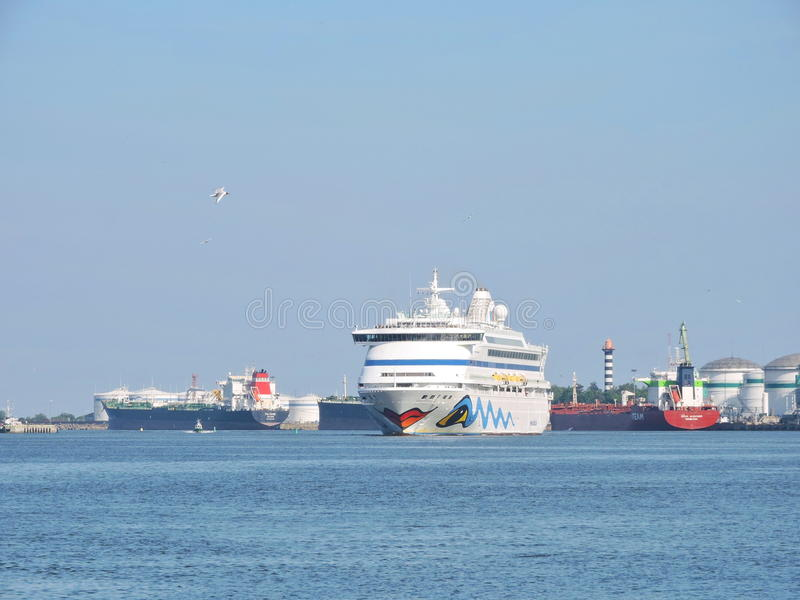 AIDA vita Cruise ship. In Klaipeda harbour, Lithuania stock photo
