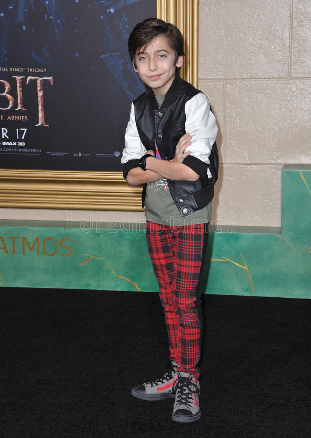 Aidan Gallagher. LOS ANGELES, CA - DECEMBER 9, 2014: Aidan Gallagher at the Los Angeles premiere of The Hobbit: The Battle of the Five Armies at the Dolby stock photo