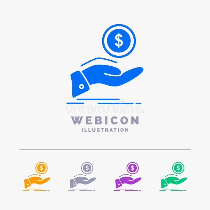 aide, argent liquide, dette, finances, calibre d'icône de Web de Glyph de couleur du prêt 5 d'isolement sur le blanc Illustration illustration libre de droits