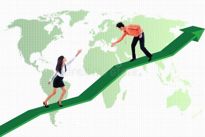 Aide d'affaires pour réaliser la réussite globale illustration de vecteur