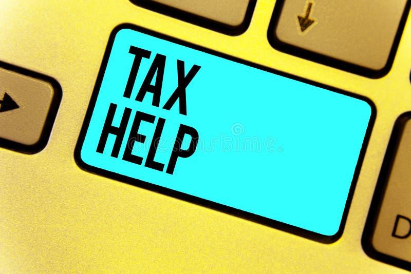 Aide d'impôts des textes d'écriture Aide de signification de concept de la contribution obligatoire au clavier Inte principal ble illustration libre de droits
