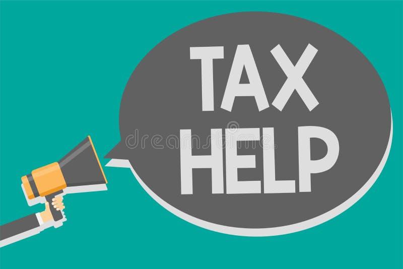 Aide d'impôts des textes d'écriture de Word Concept d'affaires pour l'aide de la contribution obligatoire au loudsp de mégaphone  illustration de vecteur