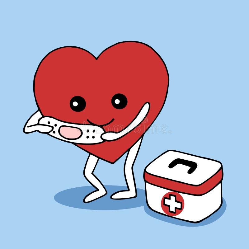 Aide de coeur de soin avec le vecteur d'amour tiré par la main illustration de vecteur