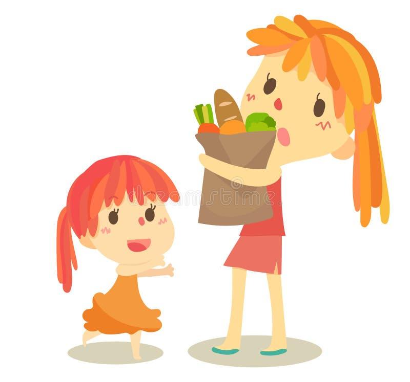 Aide de maman de famille d'enfant illustration stock