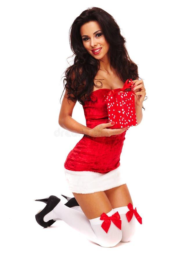 Aide de Santa sur le fond blanc photographie stock