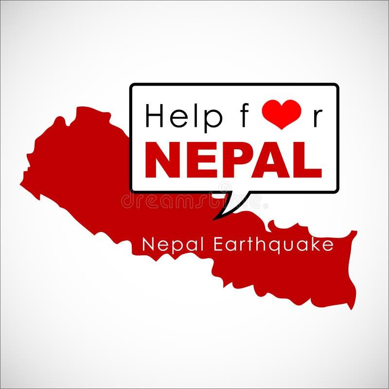 Aide et donation pour le NÉPAL Earthquaked 2015 illustration de vecteur