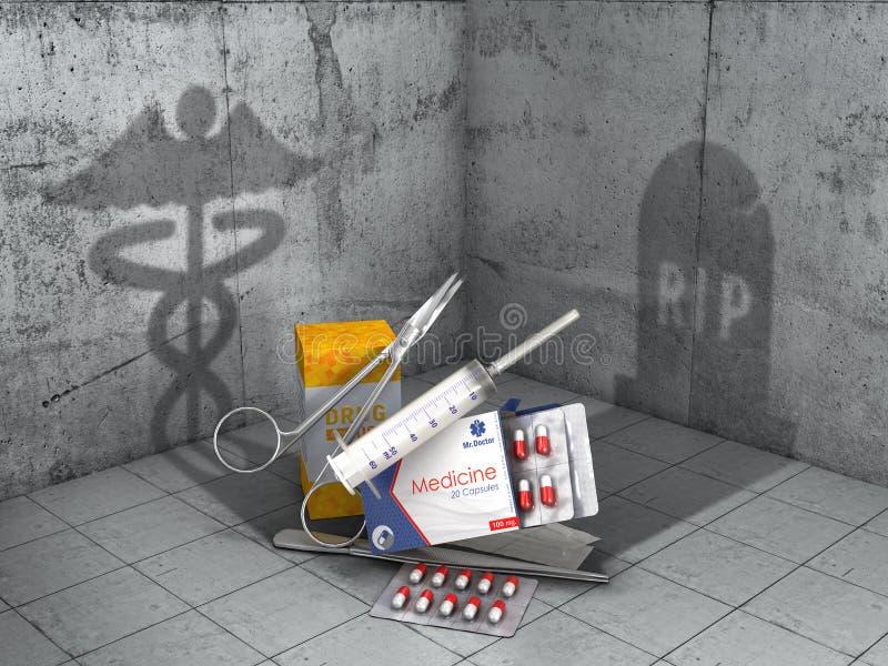 Aide et mal Les objets médicaux ont moulé des ombres dans la forme de signe médical et la forme de la tombe illustration 3D illustration de vecteur