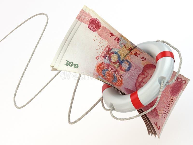 Aide financière. Conservateur et yuans de vie. illustration libre de droits