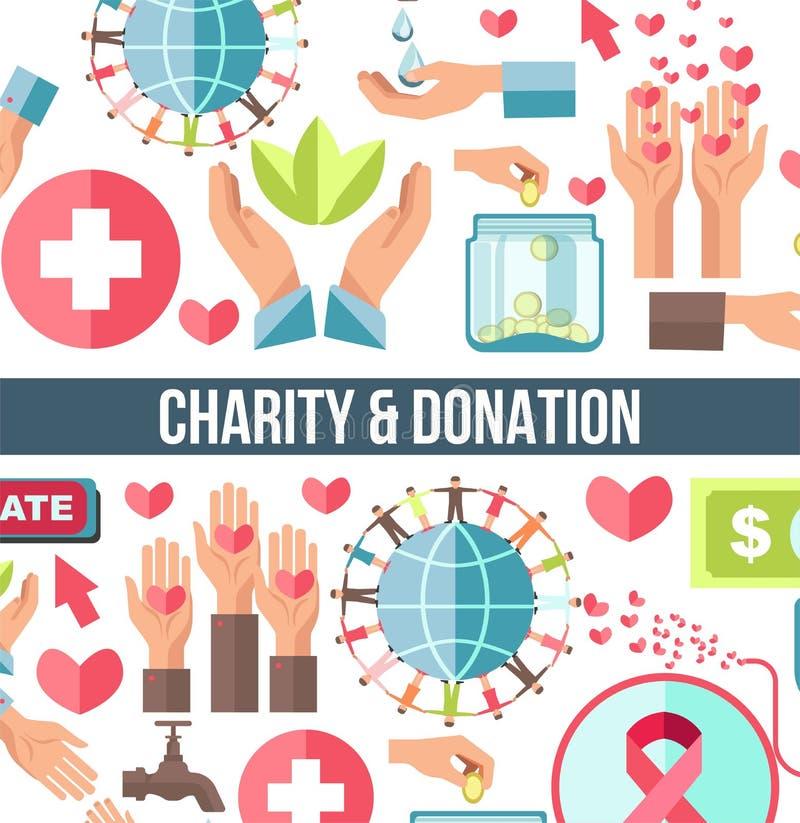 Aide financière et humanitaire de base de don du sang et de charité illustration de vecteur