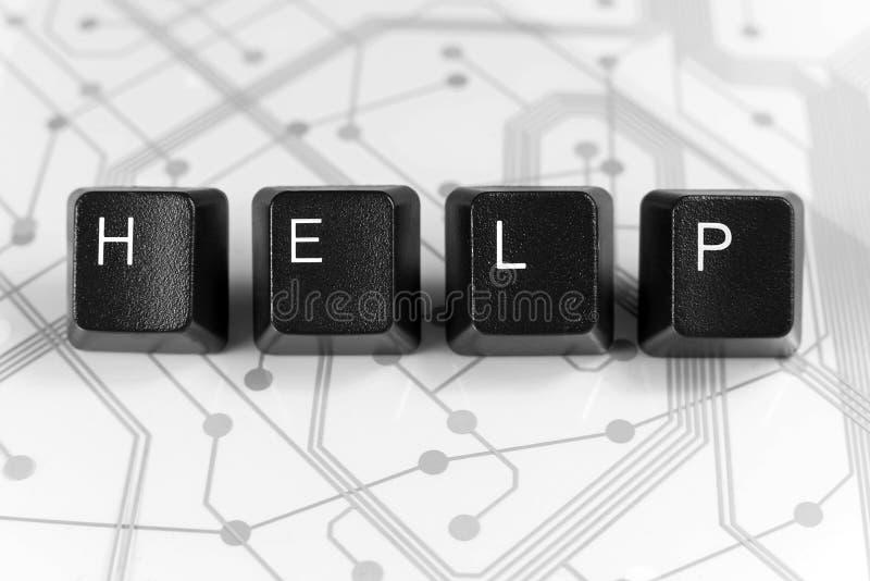 AIDE informatique, quatre clés de clavier sur la carte blanche image libre de droits