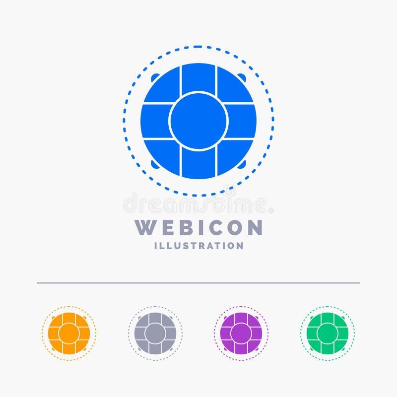 Aide, la vie, bouée de sauvetage, sauveteur, calibre d'icône de Web de Glyph de couleur du conservateur 5 d'isolement sur le blan illustration stock