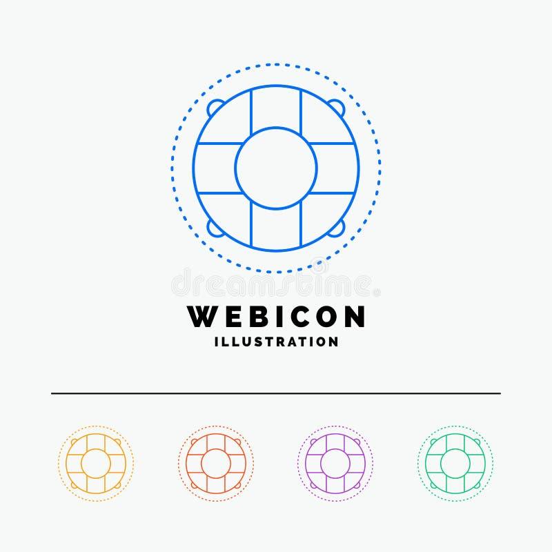 Aide, la vie, bouée de sauvetage, sauveteur, discrimination raciale du conservateur 5 calibre d'icône de Web d'isolement sur le b illustration stock