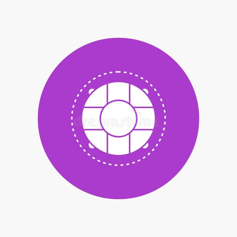 Aide, la vie, bouée de sauvetage, sauveteur, icône blanche de Glyph de conservateur en cercle Illustration de bouton de vecteur illustration libre de droits