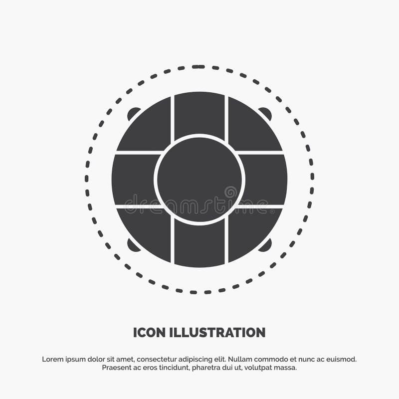 Aide, la vie, bouée de sauvetage, sauveteur, icône de conservateur symbole gris de vecteur de glyph pour UI et UX, site Web ou ap illustration de vecteur