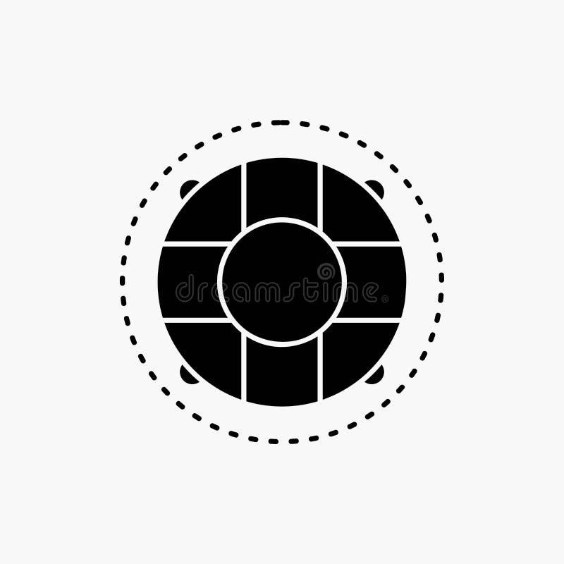 Aide, la vie, bouée de sauvetage, sauveteur, icône de Glyph de conservateur Illustration d'isolement par vecteur illustration de vecteur