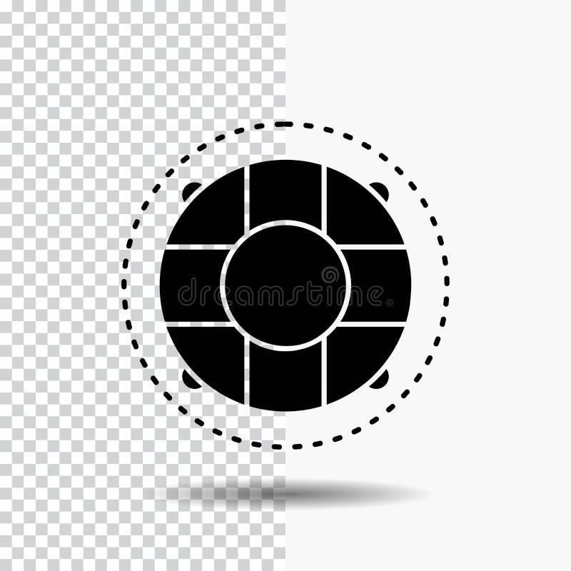 Aide, la vie, bouée de sauvetage, sauveteur, icône de Glyph de conservateur sur le fond transparent Ic?ne noire illustration libre de droits