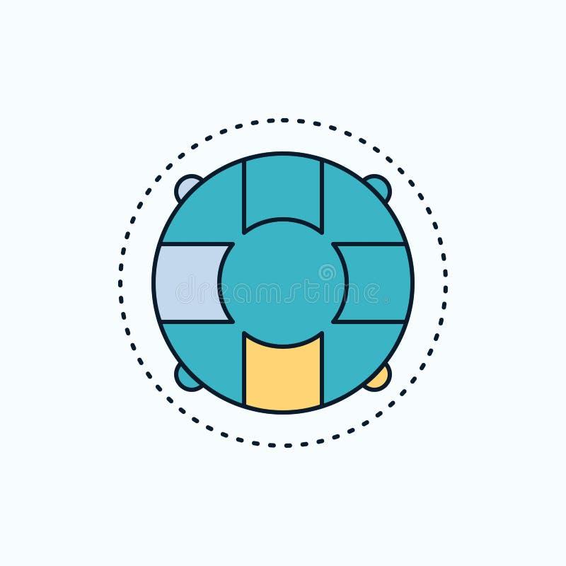 Aide, la vie, bouée de sauvetage, sauveteur, icône plate de conservateur signe et symboles verts et jaunes pour le site Web et l' illustration libre de droits