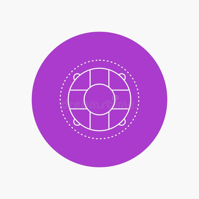 Aide, la vie, bouée de sauvetage, sauveteur, ligne blanche icône de conservateur à l'arrière-plan de cercle Illustration d'ic?ne  illustration libre de droits