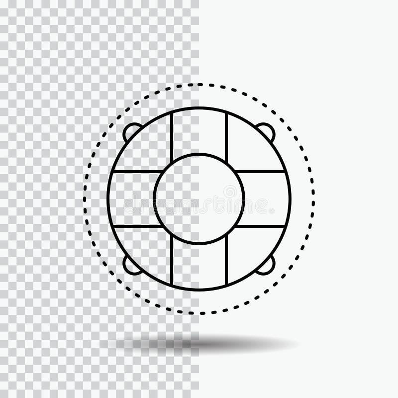 Aide, la vie, bouée de sauvetage, sauveteur, ligne icône de conservateur sur le fond transparent Illustration noire de vecteur d' illustration libre de droits