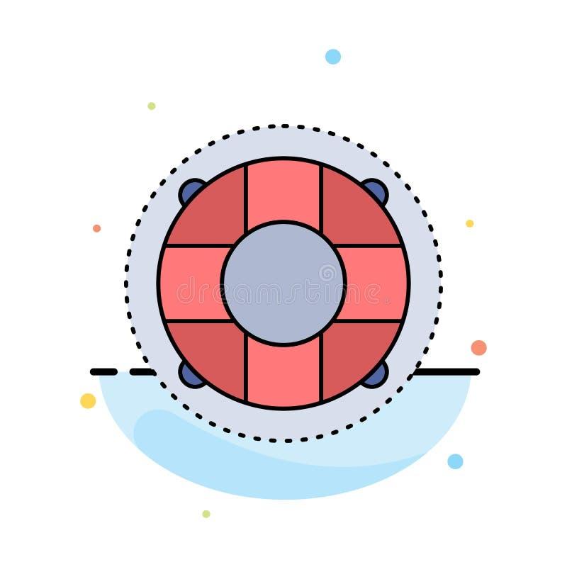 Aide, la vie, bouée de sauvetage, sauveteur, vecteur plat d'icône de couleur de conservateur illustration de vecteur