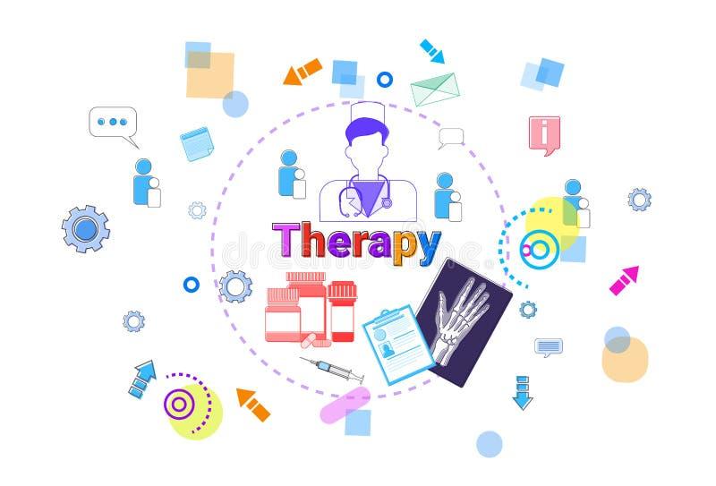 Aide médicale de bannière de soins de santé de thérapie, concept de traitement de médecine illustration libre de droits