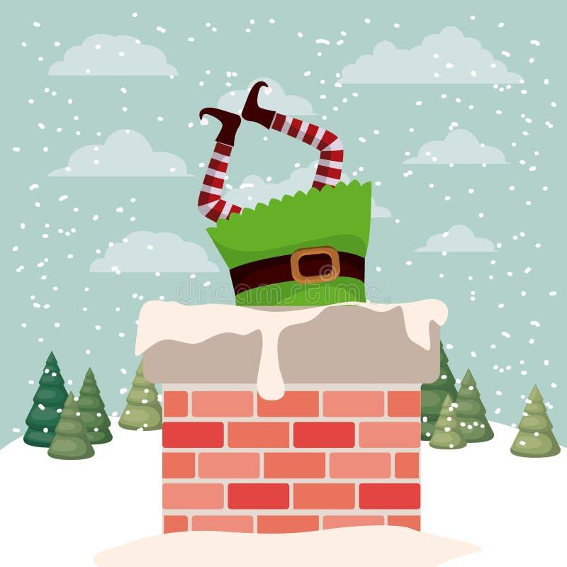Aide mignonne de Santa avec la cheminée illustration stock